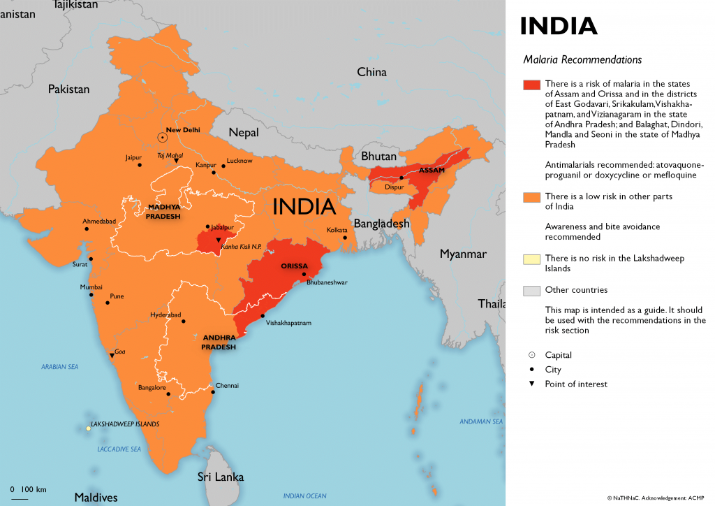 Map of malaria risk India