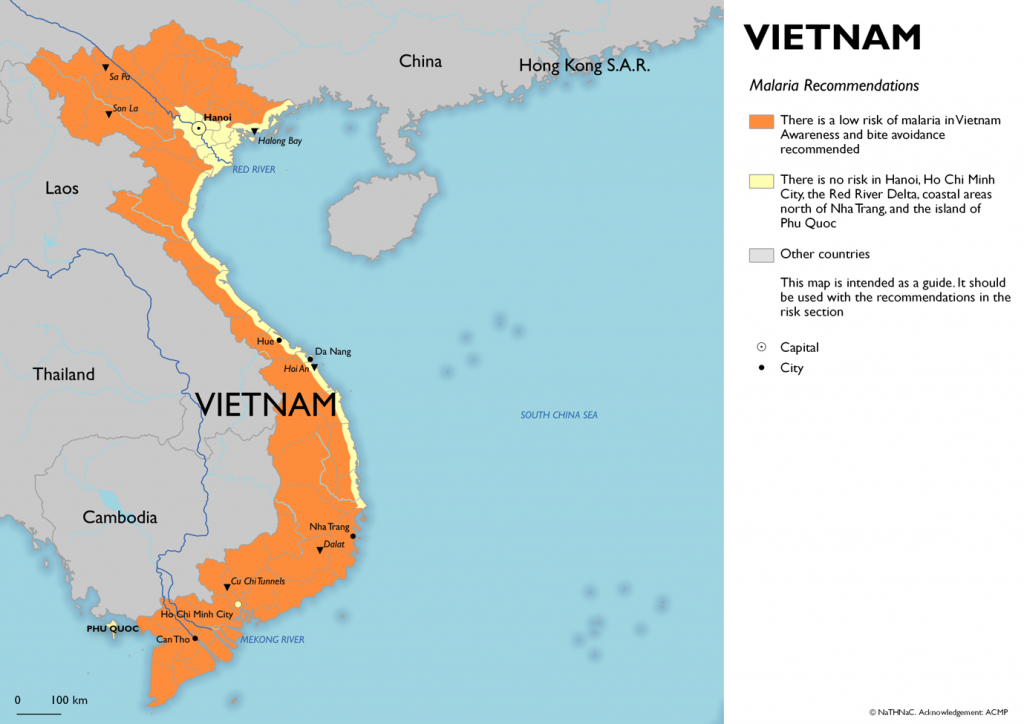 Map of malaria risk Vietnam