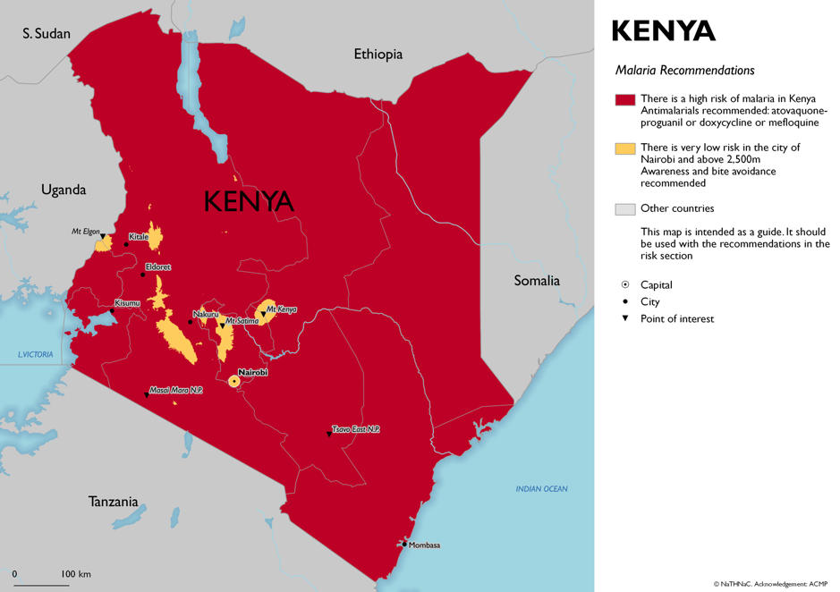 Map of malaria risk Kenya