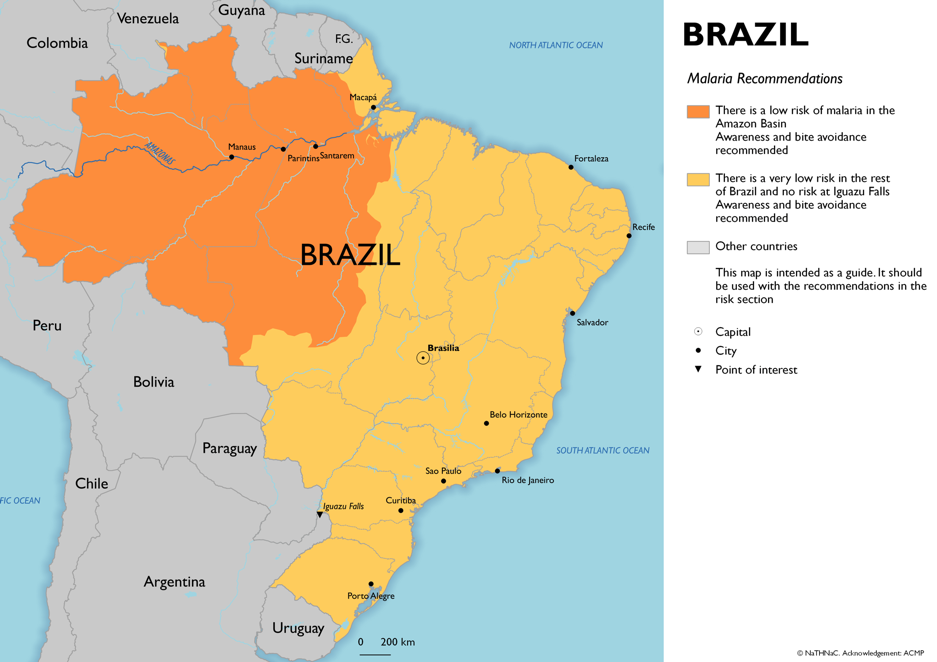 Map showing risk of malaria in Brazil