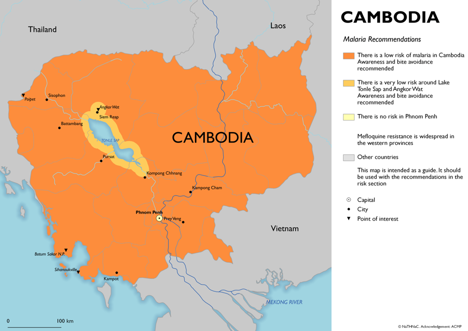 Map showing risk of malaria in Cambodia