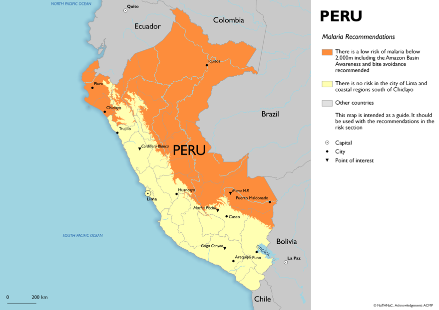 Map showing risk of malaria in Peru
