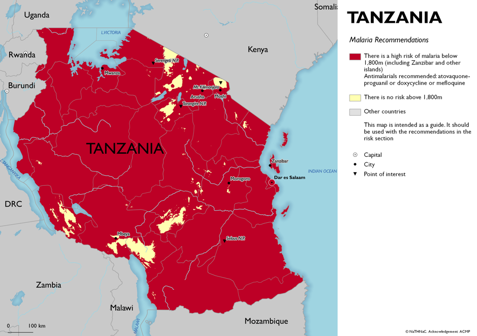Map showing risk of malaria in Tanzania