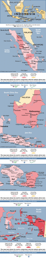 Map showing risk of malaria in Indonesia